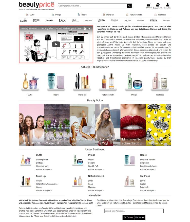 screenshot beautyprice homepage