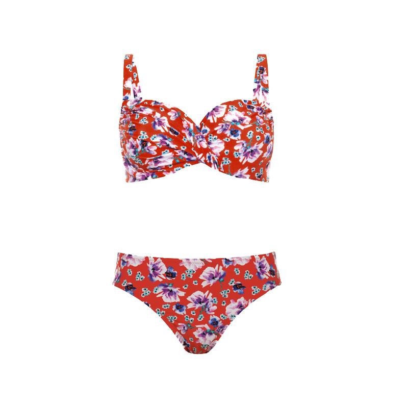 rosa faia bikini blumenprint retro