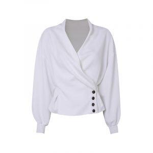 Weiße Bluse mit Knopfdetails