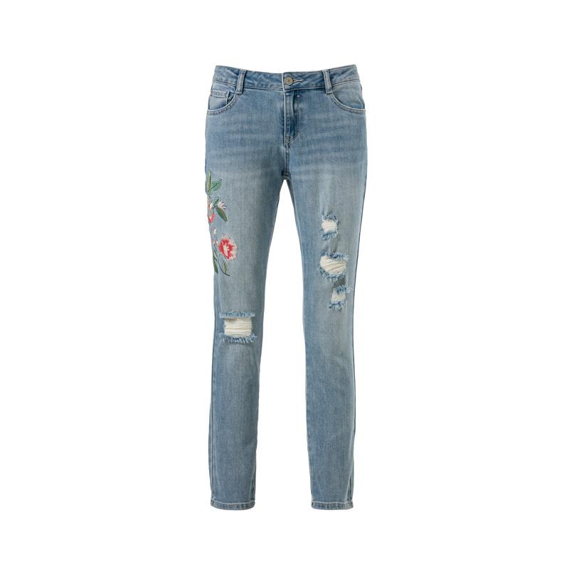 cunda jeans blumenapplikation