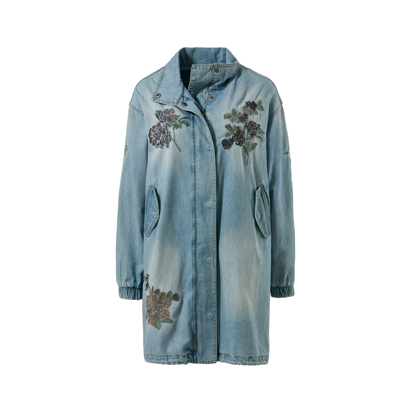 cunda parka denim blumenapplikation