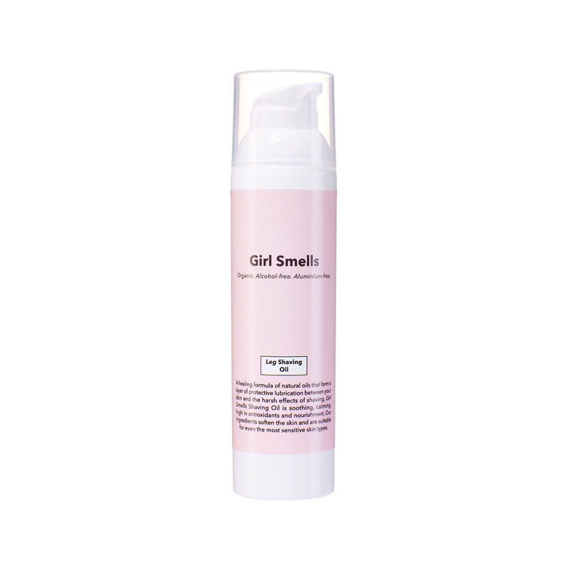 girl smells shaving-oil