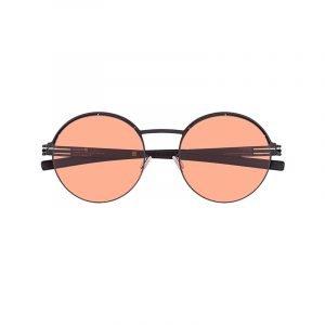 Runde Sonnenbrille mit orangenen Gläsern