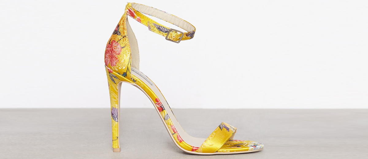 Gelbe Satin-Sandalette