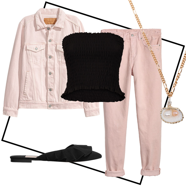 outfit tube top rosa look