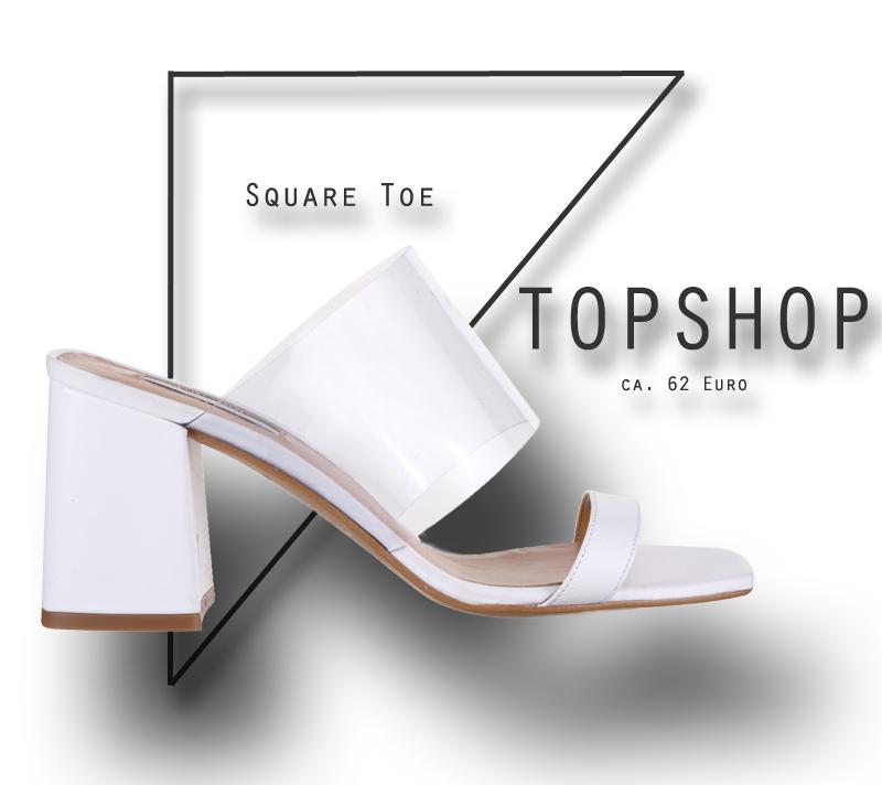 Weiße Square Toe-Sandalen