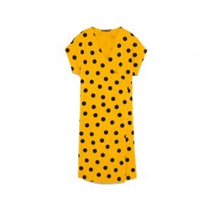 produktbild gelb schwarzes polka dot kleid