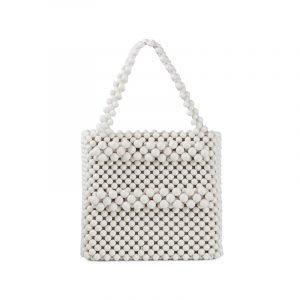 Weiße Perlentasche
