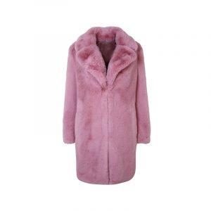 Fake Fur Mantel in Rosa