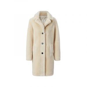 Weißer Fake Fur Mantel