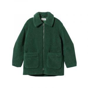 Grüne Teddyfelljacke
