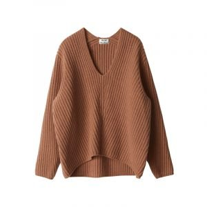 Brauner Rippstrick-Pullover
