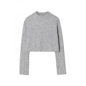 Grauer Rippstrick-Pullover
