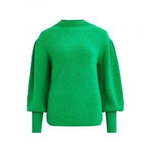 Grüner Rippstrick-Pullover