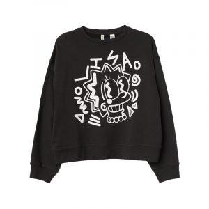 Schwarzes Sweatshirt mit Print