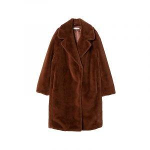 Brauner Fake Fur Mantel