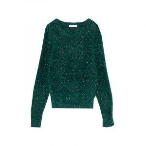 Grüner Fake Fur Pullover