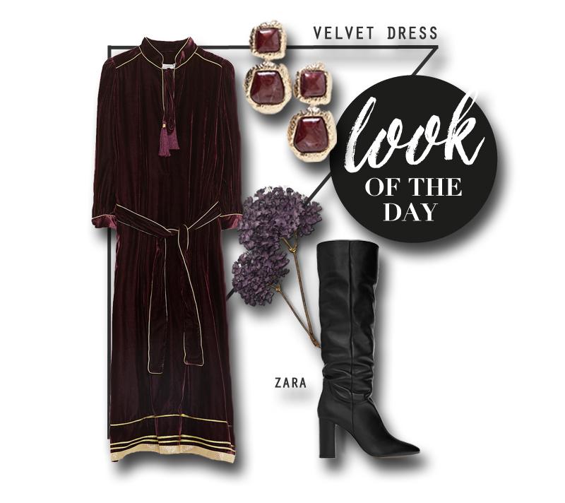 Stylingtipp Samt-Kleid