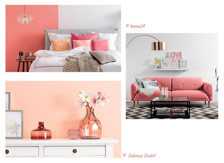 collage aus bildern von inneneinrichtungen mit möbeln, dekoration und wänden in der farbe living coral