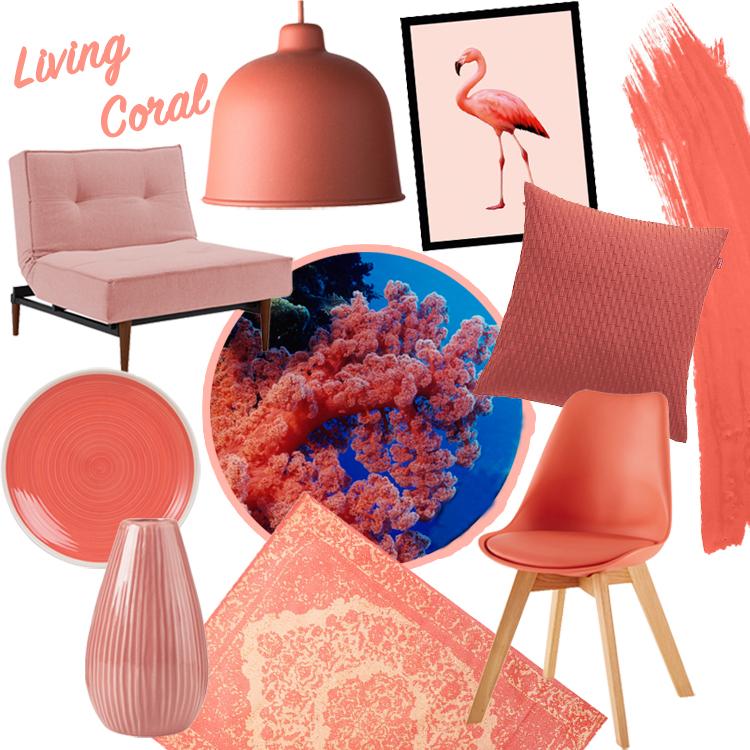 collage aus verschiedenen einrichtungsojekten, möbeln und dekoration in der korallenroten trendfarbe living coral