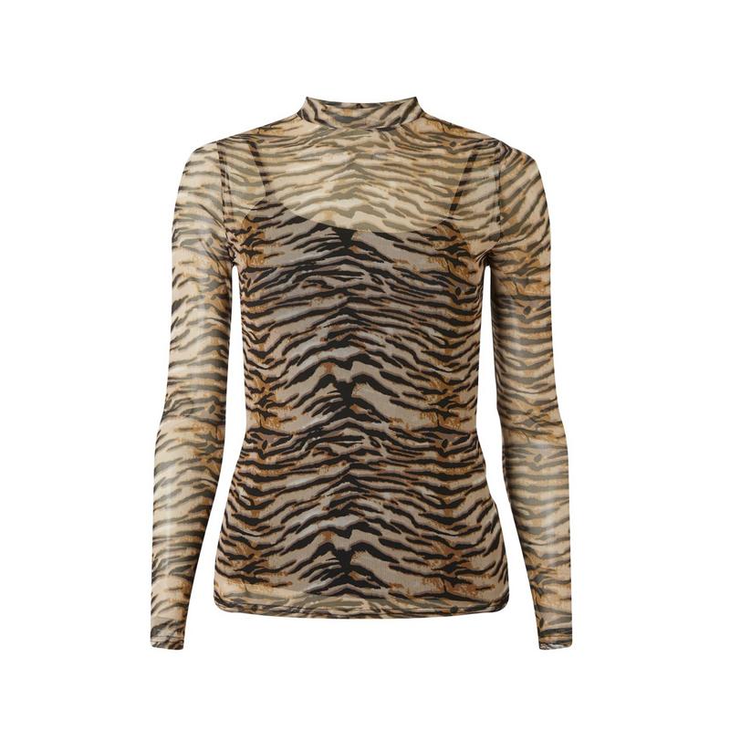 produktabbildung eines transparenten turtle neck damenpullovers mit tiger print muster von der marke dorothy perkins
