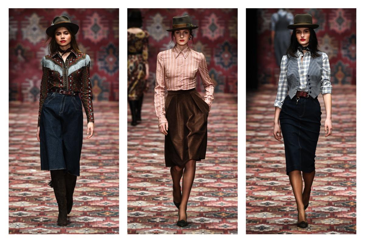 models in röcken auf laufsteg bei der lena hoschek fashion show berlin 2019