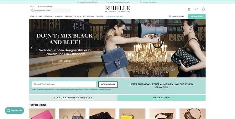 bildschirmfoto vom second hand online-shop für luxusmarken rebelle