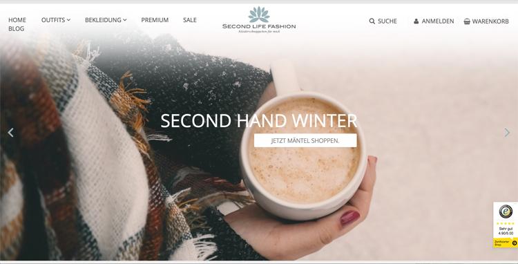 bildschirmfoto vom second hand online-shop second life fashion