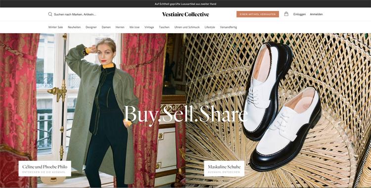 bildschirmfoto vom luxus second hand online-shop vestiaire collective