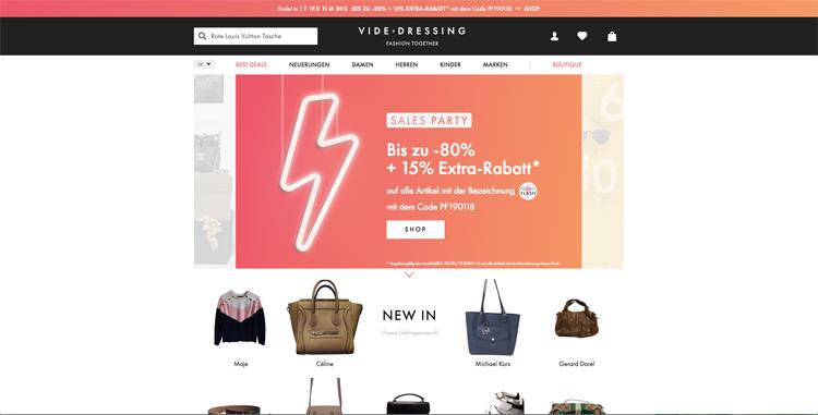 bildschirmfoto vom second hand online-shop videdressing