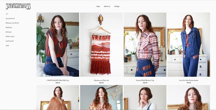 bildschirmfoto vom second hand online-shop für vintage designer-mode spanish moss