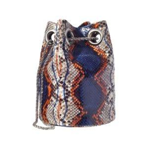 beutel-tasche mit schlangen-print in lila und orange