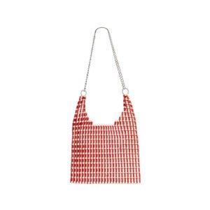 beutel-tasche mit roten schmuck-perlen