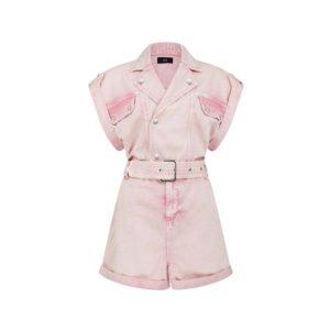 rosafarbener denim playsuit in ausgeblichener jeans-waschung