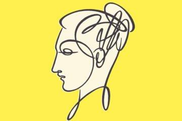 zeichnung eines frauenkopfes auf gelbem hintergrund