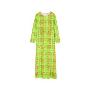 langes kariertes neon-gelbes kleid