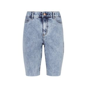 knielange verwaschen enge jeans im acid look