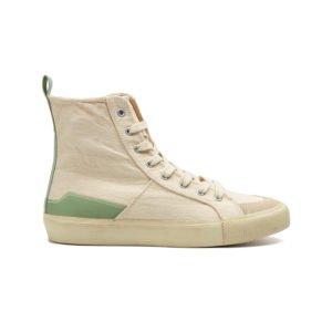 high top retro sneaker in off-white mit hellgrünem streifen an der verse von mango