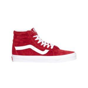 roter high top sneaker mit weißem streifen von vans