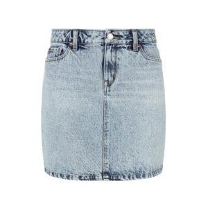 kurzer jeans-rock mit ausgeblichener unregelmäßiger waschung