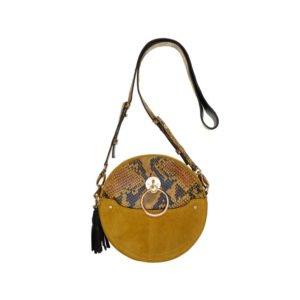 runde schulter-tasche in beige mit schlangen-print