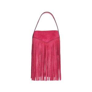 henkel-tasche in pink mit fransen
