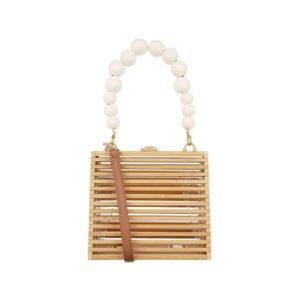 quadratische tasche aus holz mit perlen-henkel