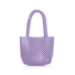 gr0ße tasche in lila aus holzperlen