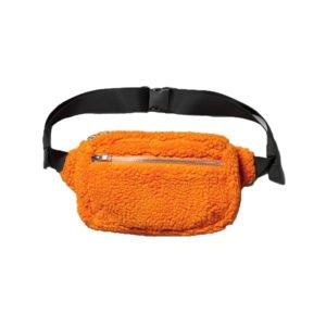 gürteltasche mit orangefarbenem teddy-fell