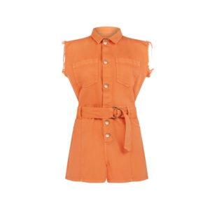 geknöpfter playsuit mit taillen-gürtel in orange