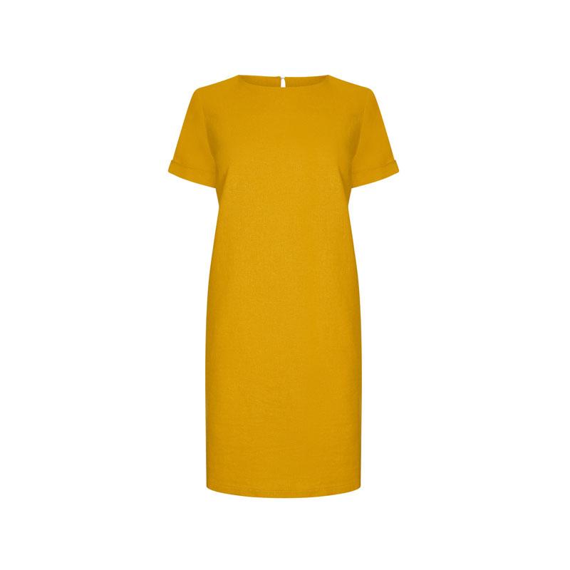 produktabbildung eines gelben leinen-kleides von lipsy