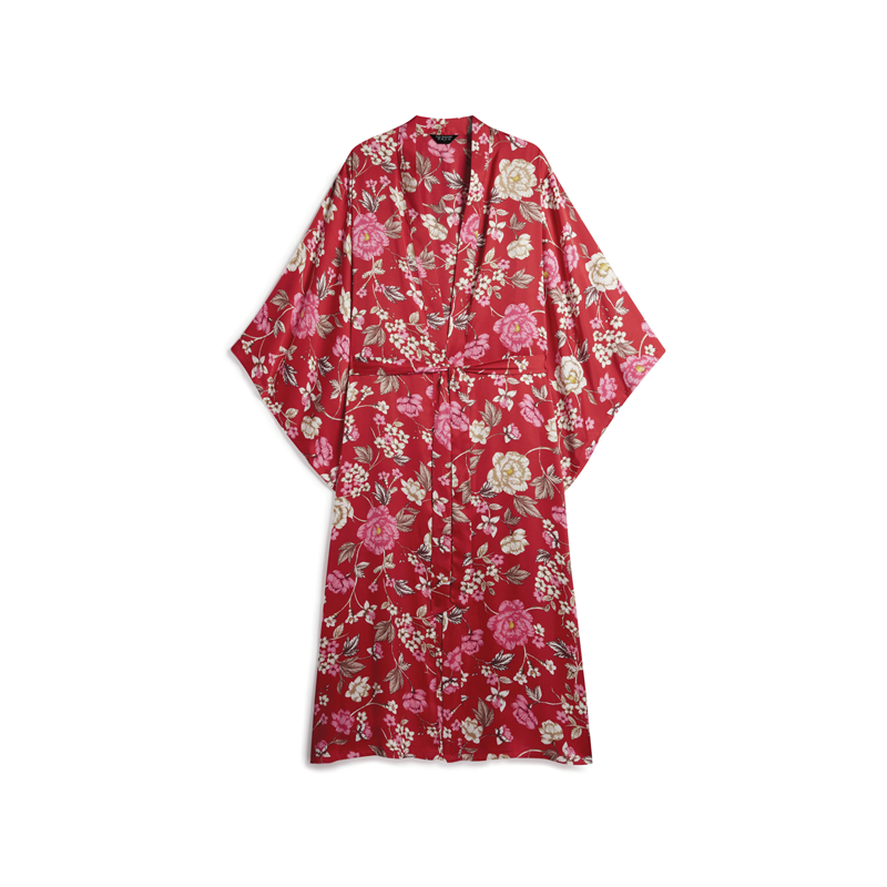 produktabbildung roter kimono mit floralem print von primark