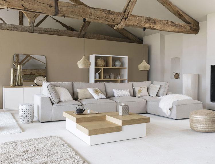 pressebild von maisons du monde zeigt stilvolles wohnzimmer in schlichten farben