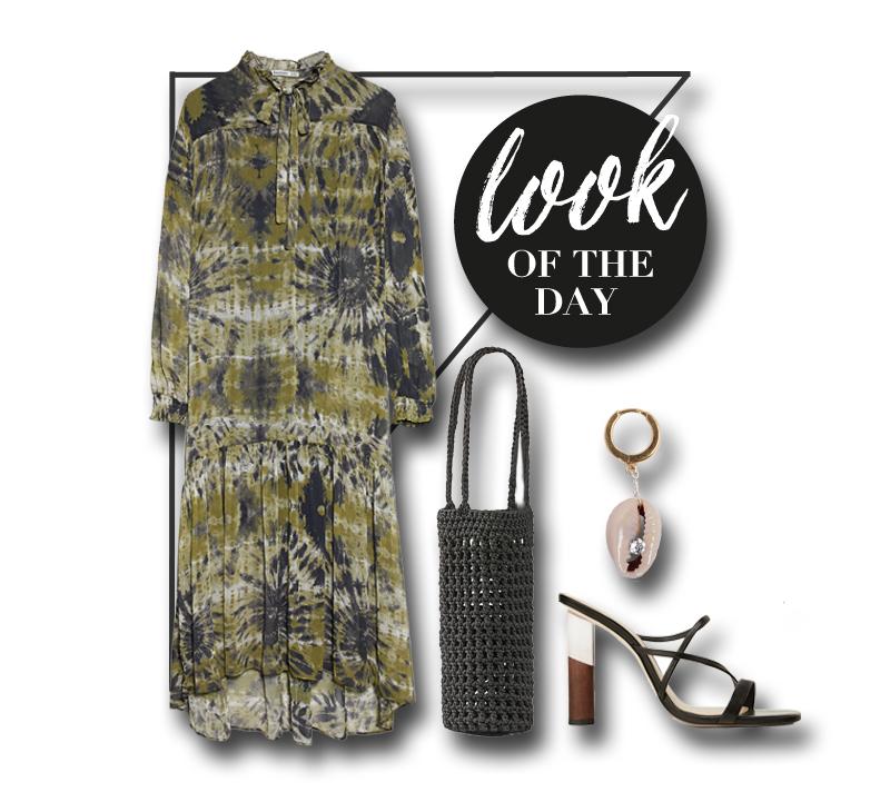 collage mit kleid, taschen, ohrring und sandale